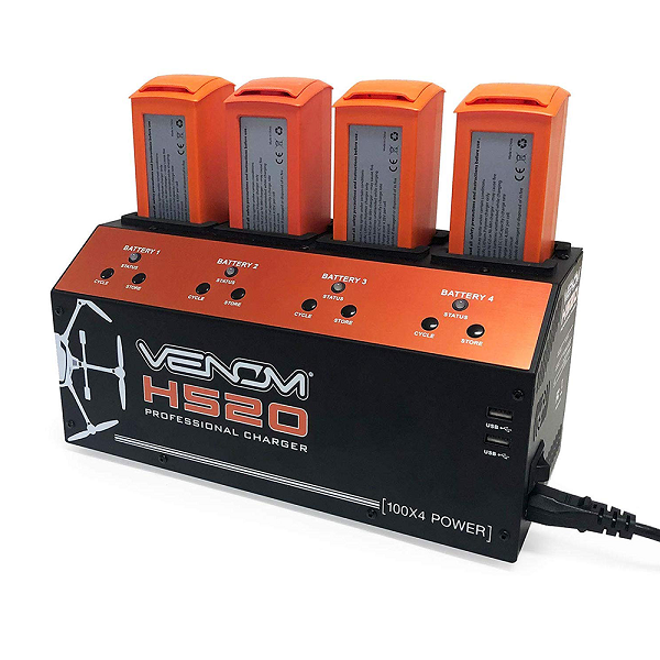 Venom Yuneec H520/Typhoon H + (Plus) 4-Port Battery Charger with 4 Extended Range Batteries